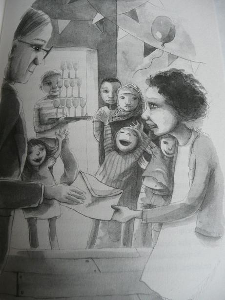 Illustratie uit Faiza is mijn held! (illustrator: Jenny Bakker)