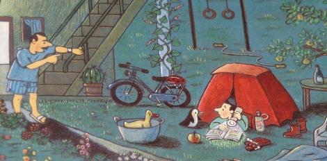 Buiten lezen detail illustratie Midden in de nacht (Rotraut Susaenne Berner)