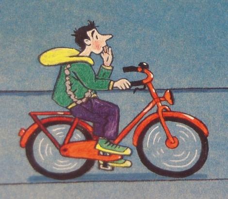 fietser detail illustratie Midden in de nacht (Rotraut Susanne Berner)