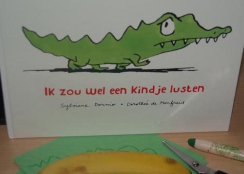 krokodil maken bij prentenboek Ik zou wel een kindje lusten
