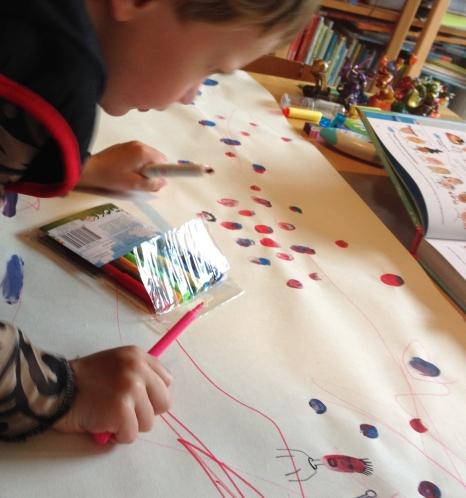 Tim tekent nav Drukte voor tien